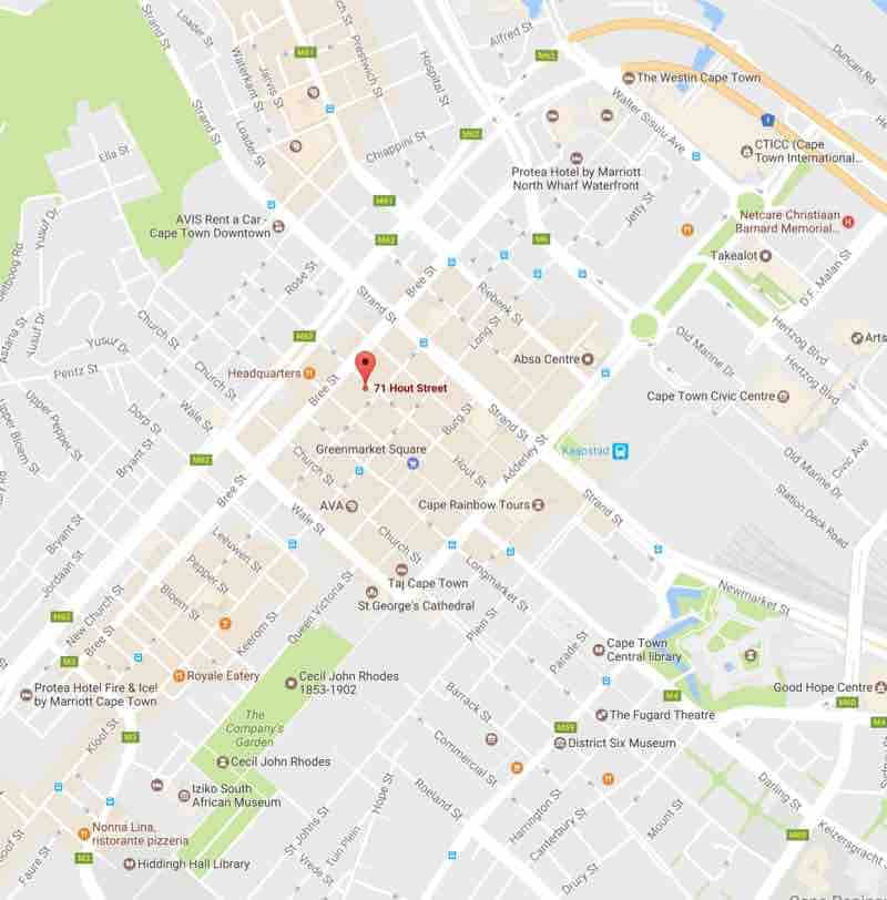 Map CIFA 71 Hout Street Cape Town small