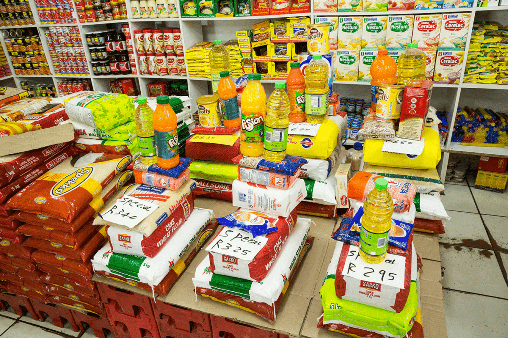 Packaged foods in a shop in Masiphumelele.